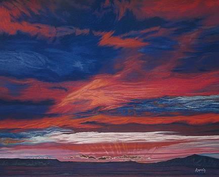 Almost Night Streaks of Light on the Horizon by Harvey Rogosin
