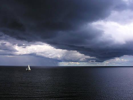 Alone sailboat by Marek Mierzejewski