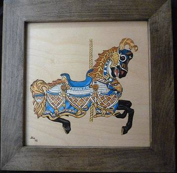 Americana Carousel Horse Pyrographic Art Wood Panel Recycled Wood Frame by Pigatopia by Shannon Ivins