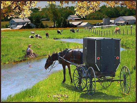 Amish Buggy with Boy Fishing by Dick Hollon