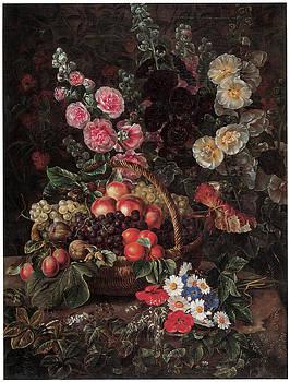 Johan Laurentz Jensen - An Opulent Floral Still Life with Fruit