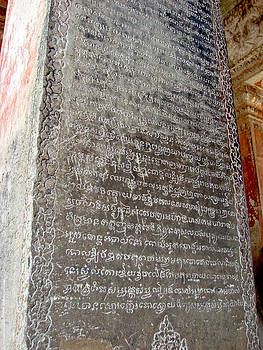 Roy Foos - Ancient Writing On Stone Column Inside Angkor Wat
