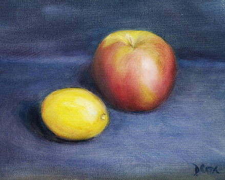 Diana Cox - Apple and Lemon on Blue