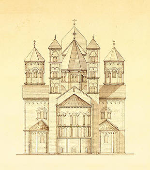 Pictus Orbis Collection - Architectural Drawing of Maria Laach Abbey in Germany