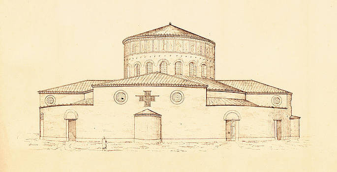Pictus Orbis Collection - Architectural Drawing of Santo Stefano Rotondo in Rome Italy