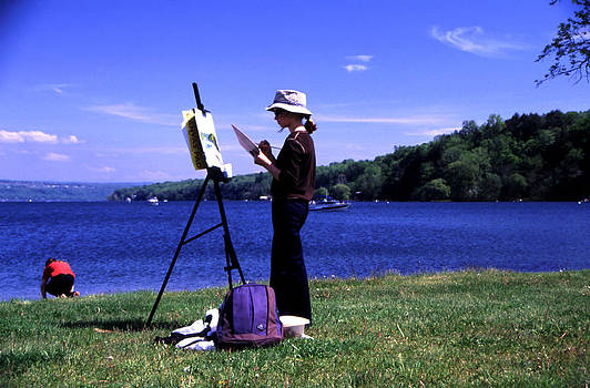 Artist Painting Cayuga Lake 2 by Roger Soule