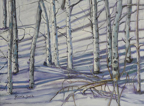 Aspen Trees In The Snow by Gloria Smith