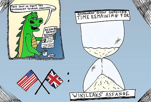 Assange Ecuador Embassy cartoon by Yasha Harari