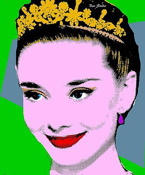 Audrey Hepburn Pop Art Green Steel Blue by Bao Studio