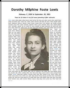 Aunt Dorothy Memorial NameArte ePortrait by Joseph David Thomas