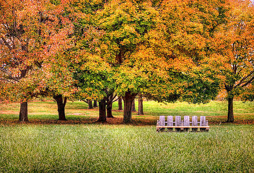 Autumn And A Bench by Pat Abbott