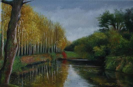 Autumn Reflections Pays de Loire France by Lucinda Coldrey