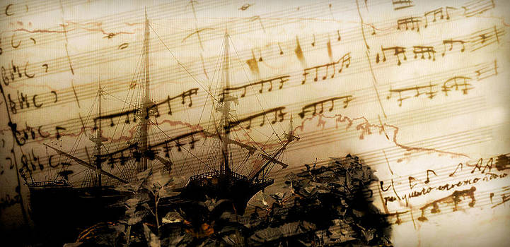Pedro Cardona Llambias - autumn sail with mozart - Original partiture notes become seagulls flying in a see of sensibility