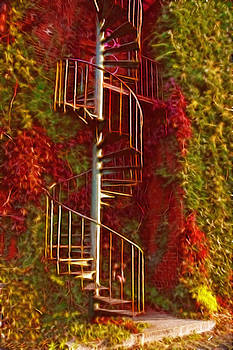 Autumn staircase by Cheryl Cencich