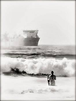 B and W Beach Scene 4 by Brian D Meredith