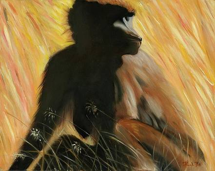 Baboon in the Grass by Pamela Bell