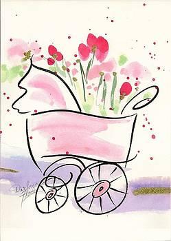 Baby Buggy Note Card by Darlene Flood
