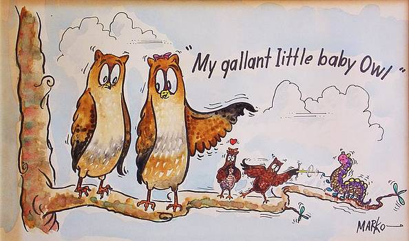 Baby Owls One by Aileen Markowski