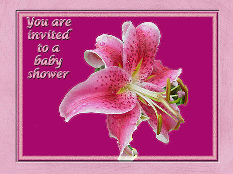 Mother Nature - Baby Shower Invitation - Pink Stargazer Lily