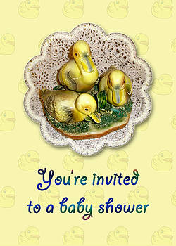 Mother Nature - Baby Shower Invitation - Yellow Ducklings Figurine