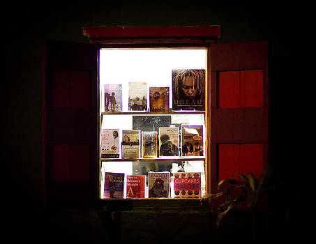 Backlit bookstore window at night by Anya Brewley schultheiss