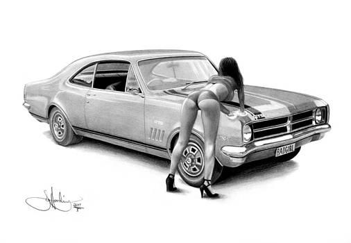Bad Girl drawing 2 by John Harding