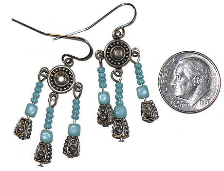 Bali Bead and Glass Turquoise Earrings by Elizabeth Carrozza