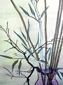 Bamboo In Purple Glass Vase by Melynnda Smith