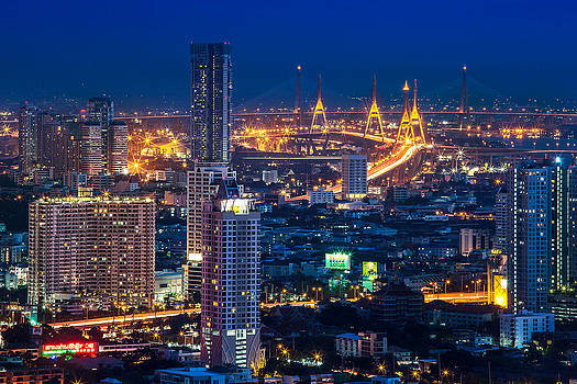 Bangkok Capital City Of Thailand Nightscape by Arthit Somsakul