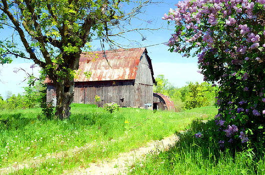 Barn and Lilacs by Cheryl Cencich