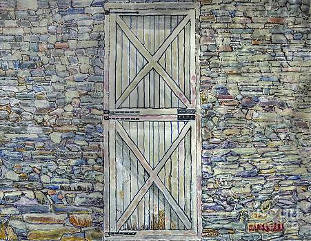 Barn Door Stone Wall by Donald McGibbon