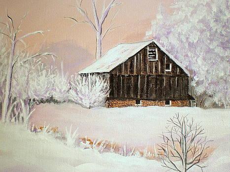 Barn in Snow by Janet Glatz