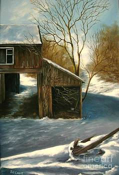 Barn in the snow by Patricia Lang