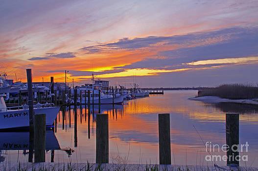 Barnegat Light Sunset Boats by Kelly S Andrews