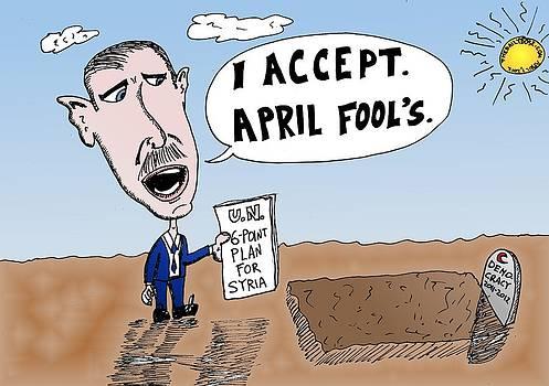Bashar Assad April Fool's Cartoon by Yasha Harari