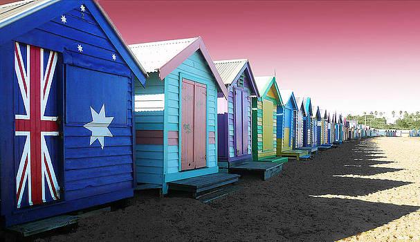 Bathing Boxes Brighton Beach by Roz McQuillan