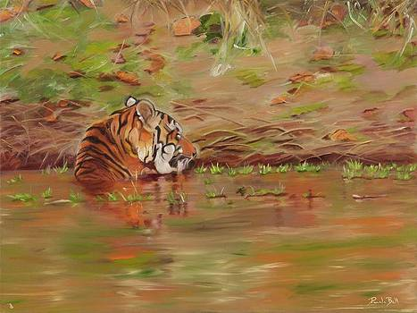 Bathing Tiger by Pamela Bell