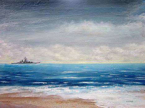 Battleship Wisconsin From Ashore by Jim  Romeo