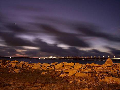 Bay St Louis Bridge with Venus by Suzanne E Clark