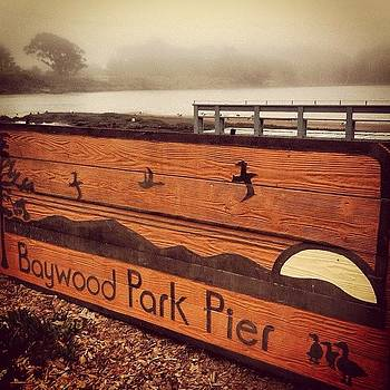 Baywood Pier #california #sign #fog by Veronica Rains