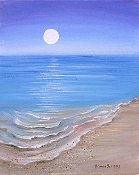 Beach and moon reflection by Brenda  Bell