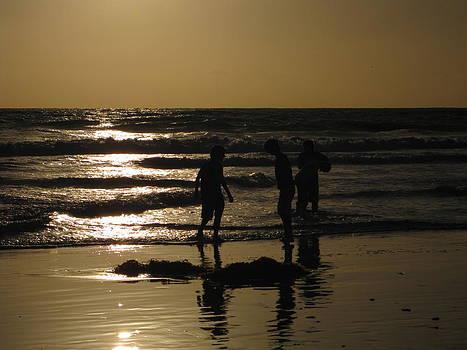 Beach Play Silhouette by Diana Poe