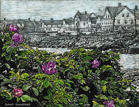 Beach Roses - Short Sands - York Maine by Robert Goudreau