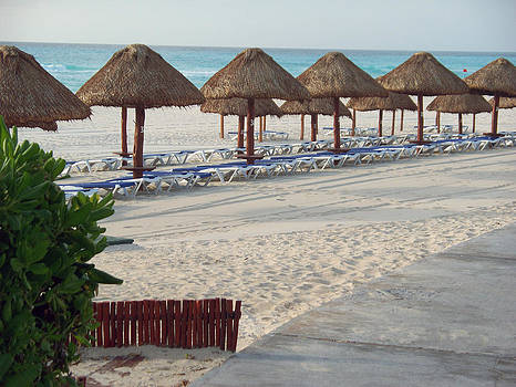 Beach Umbrellas on the Cancun Shore by Valerie Longo