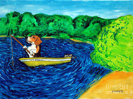 Beagle Fishing by Jay  Schmetz