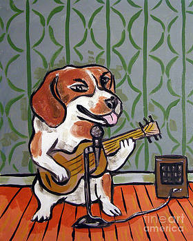 Beagle Playing guitar by Jay  Schmetz