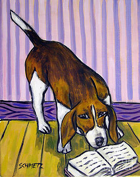 Beagle Reading by Jay  Schmetz