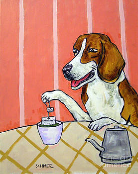 Beagle Steeping Tea by Jay  Schmetz