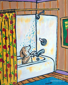 Beagle Taking a Shower by Jay  Schmetz