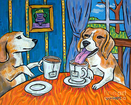Beagles Having Tea by Jay  Schmetz